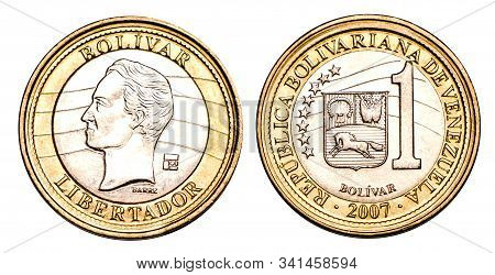 Venezuelan Coin One Bolivar 2007 Release, Gold And Silver. Currency Devaluation. Concept For Design.
