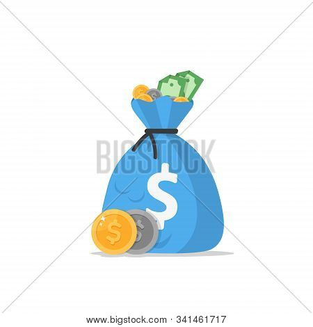 Money Bag Icon, Moneybag Flat Simple Cartoon Illustration