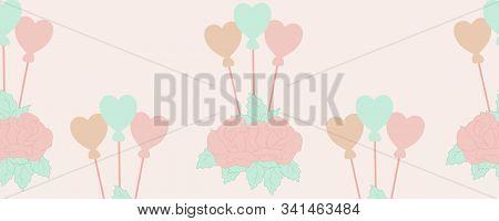 Horizontal Border With Hart Balloons  And Roses