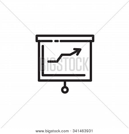 Flipchart Thin Line Icon. Whiteboard, Presentation, Diagram Outline Sign. Startup And Business Conce