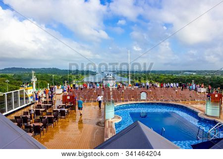 Panama Canal, Panama - December 7, 2019: The Cruise Ship Eurodam Hal Entering The Miraflores Locks I