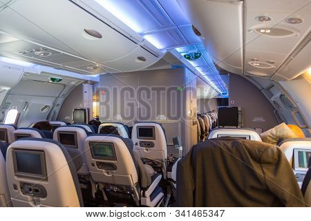 London, United Kingdom, Uk- 29 May 2015: The Inside Of British Airlines Airbus A380 Airplane. The Ai