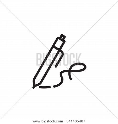 Writing Pen Thin Line Icon. Writing Tools, Creating, Signature Isolated Outline Sign. Startup And Bu