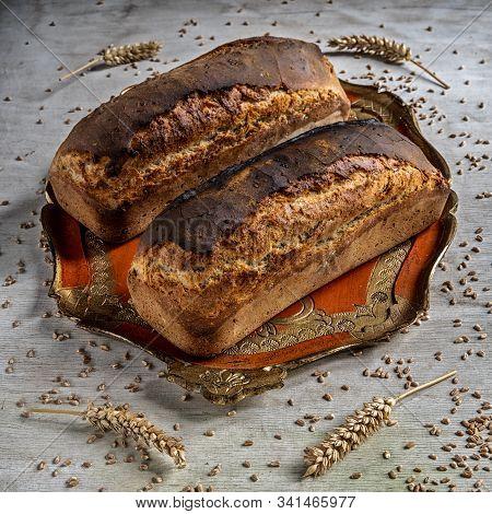 Country Sandwich Bread On A Vintage Orange Tray