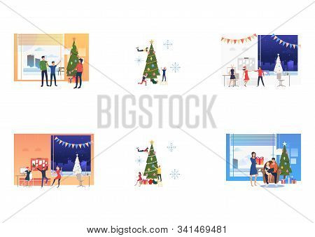 Set Of Citizens Celebrating Christmas And Decorating Fir Tree. Flat Vector Illustrations Of People D