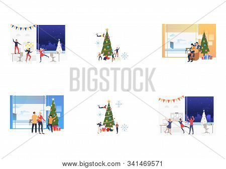 Set Of Employees Celebrating New Year. Flat Vector Illustrations Of People Dancing, Decorating Fir T