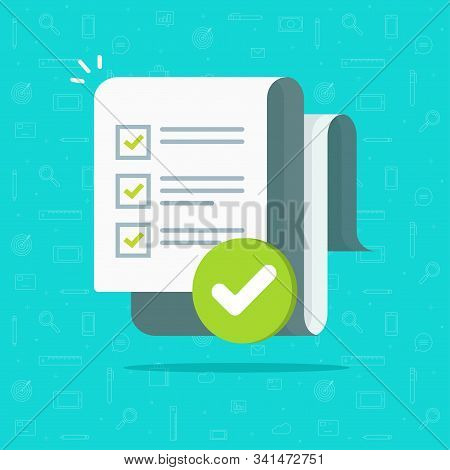 Survey Or Exam Form Long Paper Sheet With Answered Quiz Checklist And Success Result Assessment Or C