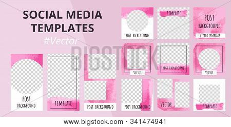Watercolor Design Backgrounds For Social Media Banner. Set Of Pink Abstract Stories And Post Frame T