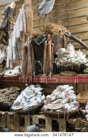 Butcher Shop Selling Delicious Traditional Sausage And Dried Meat