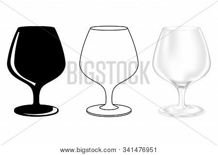 Brandy Glass. Snifter. Set Of Icons. Vector Illustration On White Background