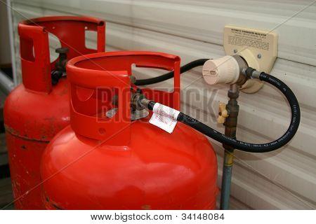 Propane gas bottles at a caravan.