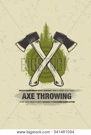 Axe Throwing Wilderness Outdoor Activity On Grunge Background