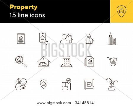 Property Line Icon Set. House, Garage, Apartment, Floor Plan. Home Concept. Can Be Used For Topics L