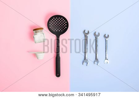 Gender Stereotypes: Division Of Men And Women Specific Tasks Or Activities. Kitchenware Opposed To M