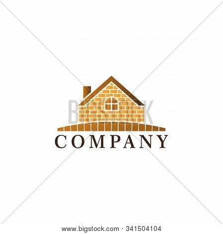 Vintage House Real Estate Logo Design Template, Construction Company, Rounded Window Shape, Roof Top