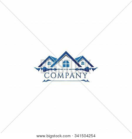 Blue Floral House Real Estate Logo Design Template, Construction Company, House Icon, Rounded Window