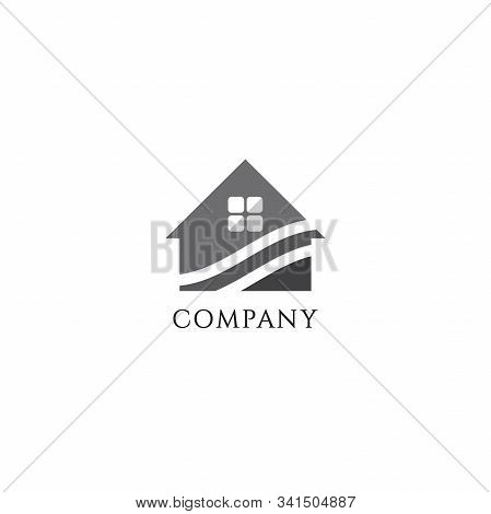 Abstract House Real Estate Logo Design Template, Home Builders Company, Construction, Roof House Ill