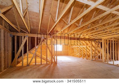 Interior Of Attic Room With Under Reconstruction Installing Wooden Frame For Improvement A Private H