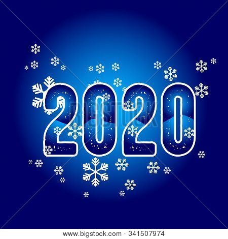 2020 Colorful Text Isolated On Blue Background, New Year 2020, 2020 Text For Calendar New Years, Hap