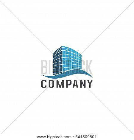Real Estate Company Logo Design Template, Blue Building Property. Construction Architecture Element,