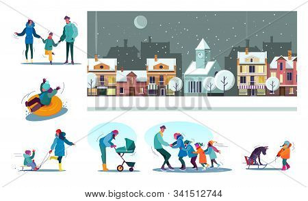 Set Of Families Enjoying Snowy Winter. Flat Vector Illustrations Of People Skating, Riding Sledge, S