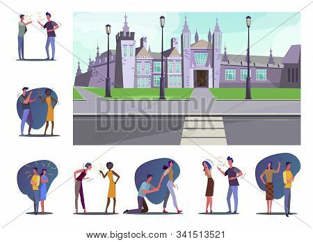 Set Of People Having Various Conflicts. Flat Vector Illustrations Of People Arguing, Screaming And S