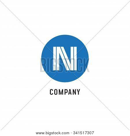 Letter N Alphabetic Logo Design Template, Abjad, Simple & Clean, Monogram, Blue, White, Rounded Elli