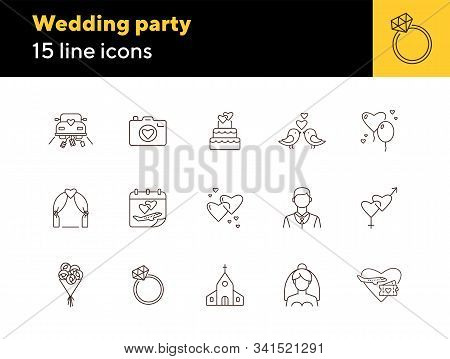 Wedding Party Icons. Set Of Line Icons. Wedding Arch, Cake, Church. Wedding Concept. Vector Illustra