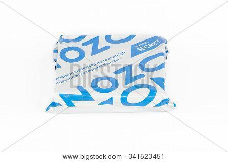 St. Petersburg, Russia - December 25, 2019: Plastic Parcel Delivery Of Ozon Online Store, Isolated O