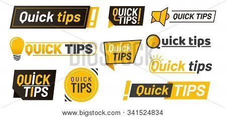 Set Of Isolated Hints Icons Or Tips With Lamp, Idea Lightbulbs And Megaphone With Exclamation Sign,