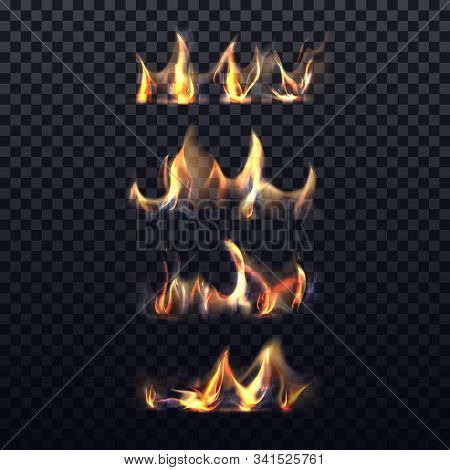 Set Of Isolated Realistic Bonfire Or 3d Flame On Transparent Background. Blazing Gas Fire Or Paper,