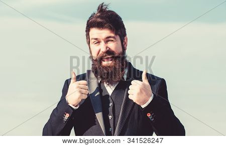 Hopeful And Confident About Future. Thumbs Up Gesture. Man Bearded Optimistic Businessman Wear Forma