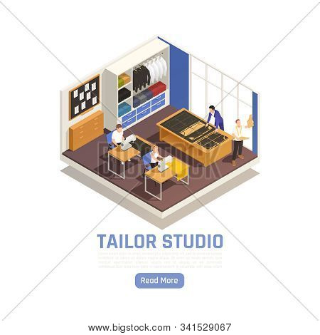 Fashion Atelier Haute Couture Studio Interior Isometric View With Tailor At Cutting Table Seamstress