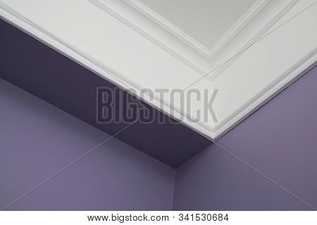 Ceiling Moldings In The Interior, Detail Of A Angular Ceiling Skirting