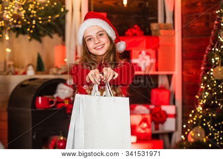 Child Shopper Fashion. Small Girl Go Shopping. Best Prices Are Here. Big Christmas Sale. Joy And Hap