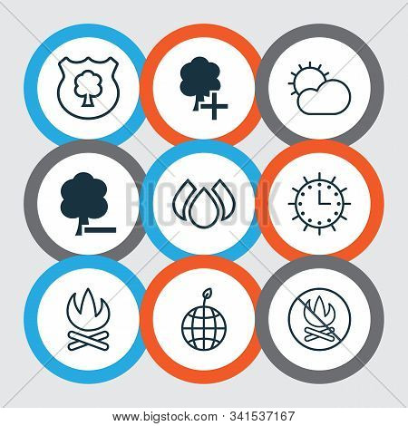 Ecology Icons Set With Campfire, Sunny Weather, No Bonfire And Other Bonfire Elements. Isolated Vect
