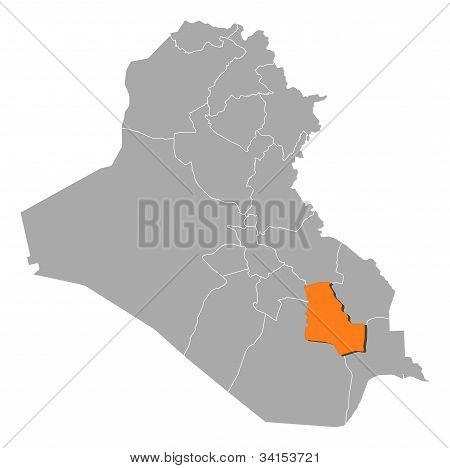 Map Of Iraq, Dhi Qar Highlighted
