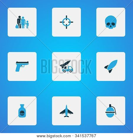Combat Icons Colored Set With Fugitive, Dynamite, Bomb And Other Aim Elements. Isolated Vector Illus