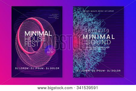 Dj Flyer. Energy Concert Invitation Set. Dynamic Fluid Shape And Line. Neon Dj Flyer. Electro Dance