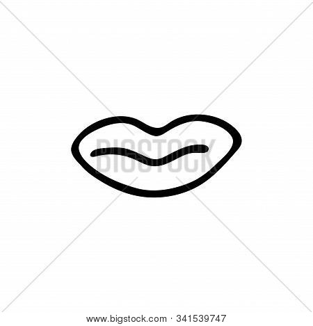 Womens Lips Icon In The Style Of Doodle Black And White Concept Vector Illustration. Happy Women Day