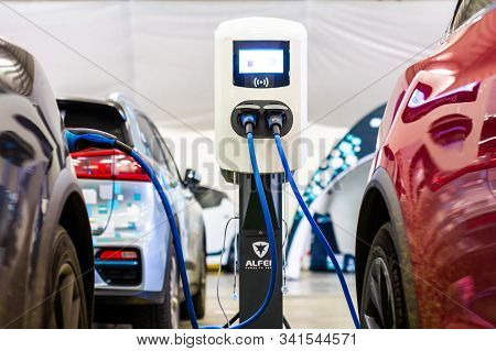 Modern Electrical Fast Charger Alfen For Electrical Or Hybrid Phev Automobiles. Future Energy Power.