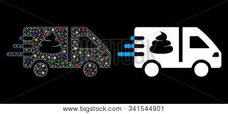Glossy Mesh Express Manure Delivery Icon With Lightspot Effect. Abstract Illuminated Model Of Expres
