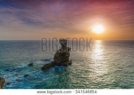 Rocky Coastline Of Atlantic Ocean At Sunset, Peniche, Portugal