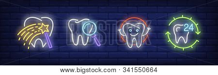 Dental Care Neon Sign Set. Fairy Stick, Molar, Smiling Tooth. Vector Illustration In Neon Style, Bri