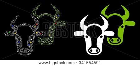 Flare Mesh Livestock Icon With Glitter Effect. Abstract Illuminated Model Of Livestock. Shiny Wire C