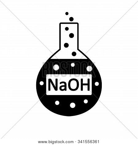 Laboratory Glass With Sodium Hydroxide On White Background. Vector Illustration.