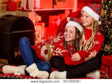 Girls Friends Soulmates Celebrate Christmas. Happy Holidays. Fun And Cheer. Happiness Joy. Joyful Ch