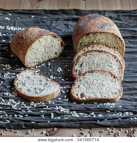 Dark Whole Wheat Spelt Sourdough Bread With Sunflower Seeds