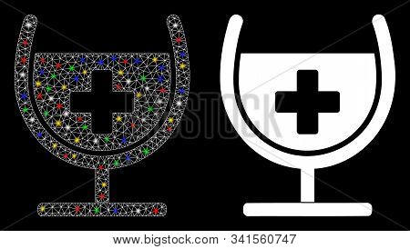 Glossy Mesh Remedy Syrup Glass Icon With Glare Effect. Abstract Illuminated Model Of Remedy Syrup Gl