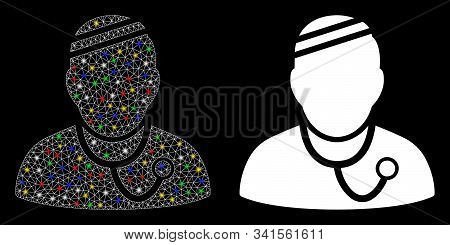 Glossy Mesh Sick Physician Icon With Glare Effect. Abstract Illuminated Model Of Sick Physician. Shi